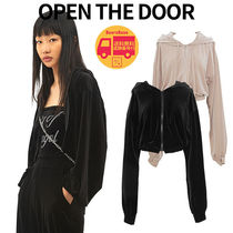 OPEN THE DOOR velvet crop hood zip-up BBN1775 追跡付