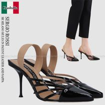SERGIO ROSSI   SR MILANO MULES IN PATENT LEATHER AND NAPPA