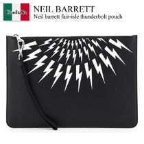 Neil barrett fair-isle thunderbolt pouch