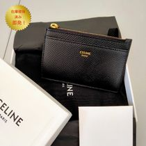 CELINE ZIPPED CARD HOLDER IN GRAINED CALFSKIN