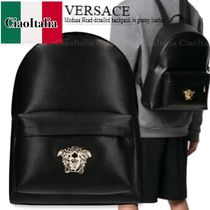 VERSACE Medusa Head-detailed backpack in grainy leather