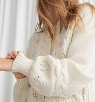 """""""& Other Stories"""" Floral Embroidery Cable Knit Cardigan"""