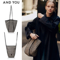 AND YOU(アンドユー) エコバッグ ★AND YOU★ITAEWON Bag - Black houndstooth★韓国の人気バッグ