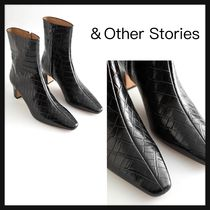 【&Other Stories】Croc Leather Heeled アンクルブーツ 黒 革
