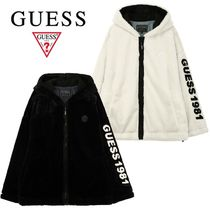 ★GUESS★ECO FUR LETTERING HOODED ZIP-UP 2色