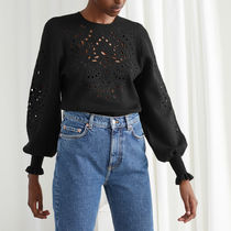 &other stories Embroidered Jacquard Knit Sweater ブラック