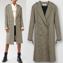 C597 MILITARY DOUBLE-BREASTED COAT IN SOFT HOUNDSTOOTH WOOL