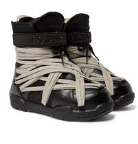+ Moncler Amber Canvas-Trimmed Leather Snow Boots