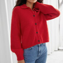 """""""& Other Stories""""Wool Blend Tortoise Button Cardigan Red"""