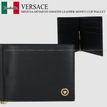 VERSACE MEDUSA-DETAILED SMOOTH LEATHER MONEY-CLIP WALLET