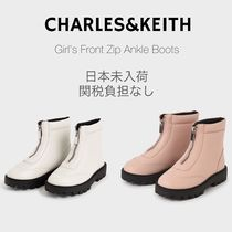 Charles&Keith(チャールズアンドキース) キッズブーツ 日本未入荷☆CHARLES&KEITH Girl's Front Zip Ankle Boots