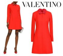 VALENTINO☆Floral-appliqued leather-trimmed wool&silk dress