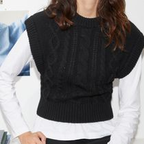 """& Other Stories"" Short Fitted Cable Knit Vest Black"