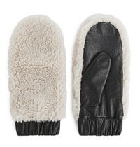 "ARKET(アーケット) 手袋 ""ARKET"" Leather Pile Mittens Beige/Black"