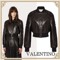 VALENTINO☆Leather Cavan with Lace Details レディース Black