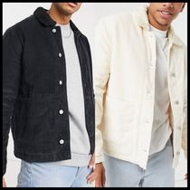 ASOS DESIGN cord worker shacket with borg collar