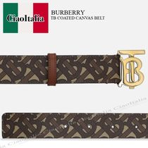 BURBERRY TB COATED CANVAS BELT