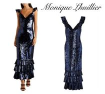 Monique Lhuillier(モニークルイリエ) ワンピースその他 [関税・送料込] MONIQUE LHUILLIER☆Tiered sequined mesh gown