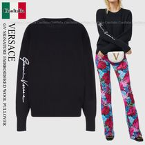 VERSACE GV SIGNATURE EMBROIDERED WOOL PULLOVER
