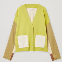 """COS"" COLOUR-BLOCK WOOL CARDIGAN YELLOW"