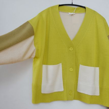 "COS カーディガン ""COS"" COLOUR-BLOCK WOOL CARDIGAN YELLOW(2)"