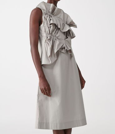 """""""COS"""" ORGANIC COTTON RUCHED PANEL DRESS GRAY"""