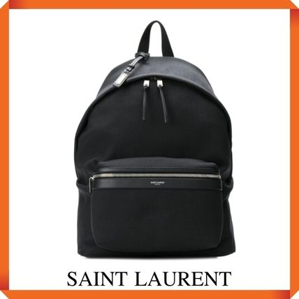 SAINT LAURENT CITY BACKPACK IN NYLON CANVAS AND LEATHER