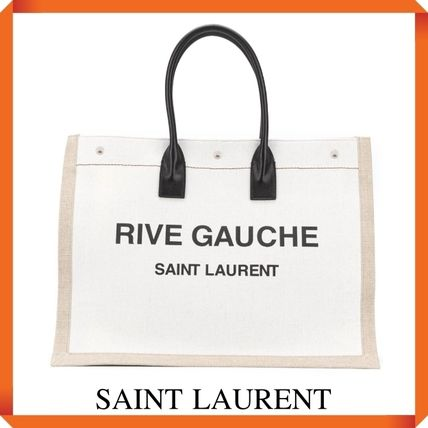 SAINT LAURENT RIVE GAUCHE TOTE BAG FABRIC AND LEATHER