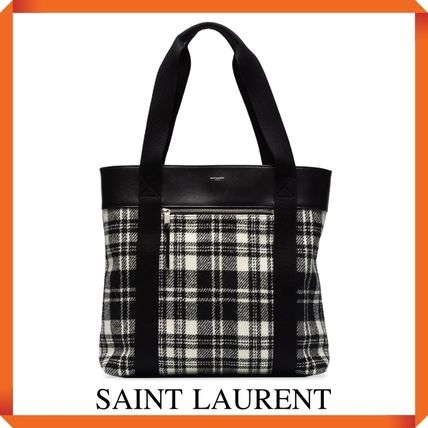 SAINT LAURENT TOTE BAG IN WOOL AND LEATHER