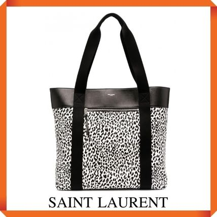 SAINT LAURENT PRINTED LEATHER SHOPPING BAG