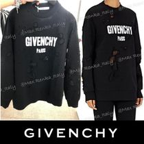 SALE【GIVENCHY】Logo-print destroyed cotton sweatshirt