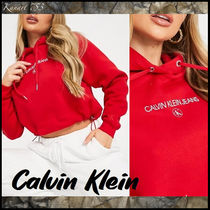 【Calvin Klein 】Jeans★フロントロゴ*クロップドパーカー*赤