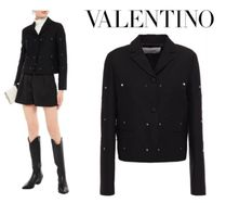 VALENTINO☆Studded wool and silk-blend crepe jacket