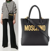 【Moschino】Logo Print Mini Tote 2WAY ブラック×ゴールド