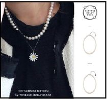 VINTAGE HOLLYWOOD☆Natural Pearl Necklaceブラックピンク着用