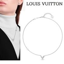 """【LOUIS VUITTON】ESSENTIAL V""""エッセンシャルVネックレスsilver"""