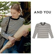 【&U】SSANGMUN Puffed long sleeve T-shirt (Black stripe)
