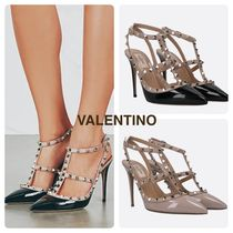 【VALENTINO】 ROCKSTUD PATENT AND SMOOTH LEATHER SLINGBACKS