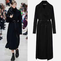 V2100 LOOK1 DOUBLE DRAP COAT WITH LEATHER DETAIL