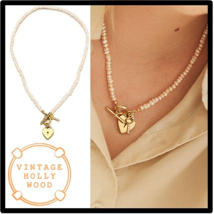 VINTAGE HOLLYWOOD Open Your Heart Pearl Necklac.e ネックレス
