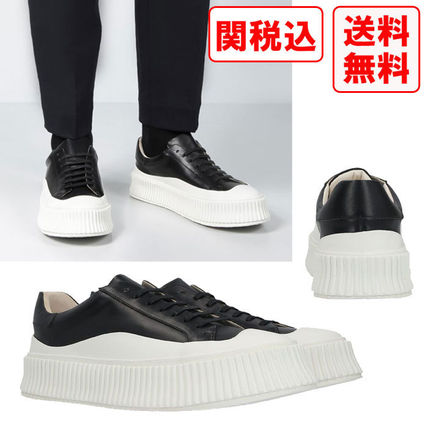 関税 送料込 Jil Sander LEATHER AND RUBBER LOW-TOP スニーカー