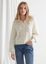 【& Other Stories】Floral Embroidery Cable Knit Cardigan