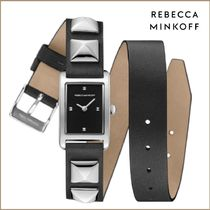 Rebecca Minkoff★Moment Silver Tone Studded Leather  Watch♪
