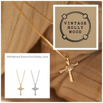 VINTAGE HOLLYWOOD(ヴィンテージハリウッド) ネックレス・ペンダント [VINTAGE HOLLYWOOD]2020Delicated Texture Cross Necklace全2色