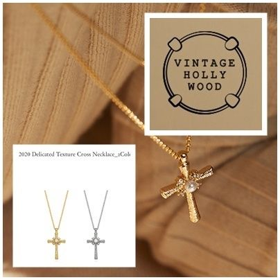 [VINTAGE HOLLYWOOD]2020Delicated Texture Cross Necklace全2色