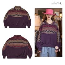 VITALSIGN - Collar Knit Pattern Sweatshirt