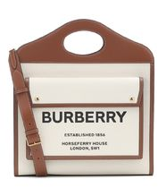 【送料込み】BURBERRY Pocket Medium leather canvas tote