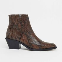 ASOS DESIGN cuban heel western chelsea boot in snake leather
