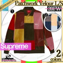 20FW /Supreme Patchwork Velour L/S Polo パッチワーク ベロア