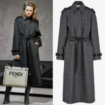 FE2825 LOOK18 CHECKED WOOL TRENCH COAT